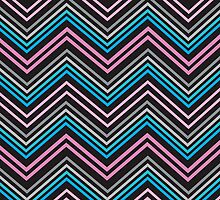 Turquoise Blue Pink Gray and Black Chevron Abstract Pattern  by Christina Katson
