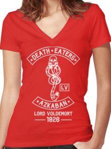 death eaters Azkaban white Women's Fitted V-Neck T-Shirt