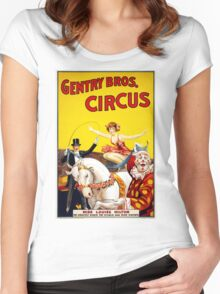 Vintage Gentry Bros. Horse and Clown Circus Women's Fitted Scoop T-Shirt
