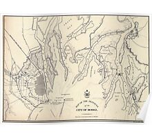 Civil War Maps 0899 Map of the defences of the city of Mobile 1862-64 Poster