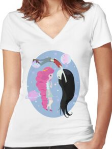 Bubbline: To space and beyond! Women's Fitted V-Neck T-Shirt