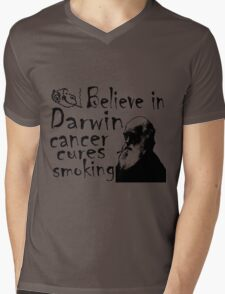 BELIEVE IN DARWIN - CANCER CURES SMOKING Mens V-Neck T-Shirt
