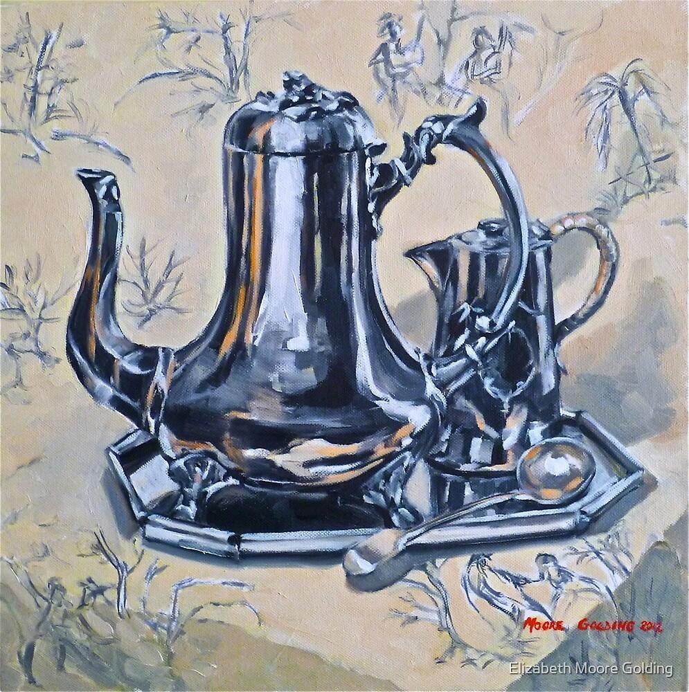 Silverware on toile. Oil on linen 2012Ⓒ by Elizabeth Moore Golding
