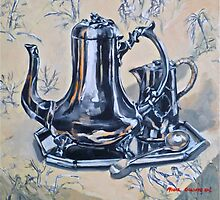 Silverware on toile. Oil on linen 2012Ⓒ by Elizabeth Moore Golding