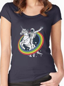 Astronaut riding a unicorn Women's Fitted Scoop T-Shirt