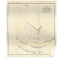 Civil War Maps 0377 First attack upon Fort Fisher by the US Navy under Rear Admiral D D Porter Dec 24 and 25 1864 Showing the position of vessels and line of fire Poster