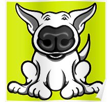 English Bull Terrier Cartoon Big Nose Poster