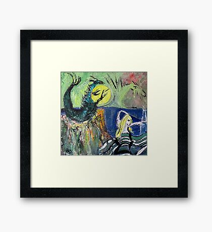 Mermaid and two dragons, painting. Framed Print