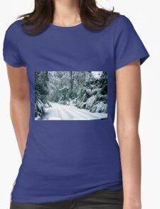 Snowy road, Marysville, Victoria, Australia Womens Fitted T-Shirt