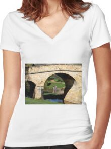 Under the Bridge at Richmond Women's Fitted V-Neck T-Shirt