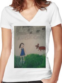 oil pastel drawing Women's Fitted V-Neck T-Shirt