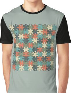Jigsaw Puzzle Pattern in Vintage Color Palette Graphic T-Shirt