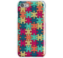 Jigsaw Puzzle Seamless Pattern in Festive Color Palette iPhone Case/Skin