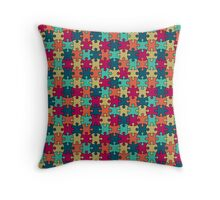 Jigsaw Puzzle Seamless Pattern in Festive Color Palette Throw Pillow
