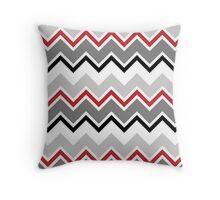 Chevron Red Grey Black Zigzag Pattern Throw Pillow