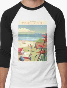 Waihi Beach New Zealand Men's Baseball ¾ T-Shirt