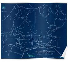 Civil War Maps 0693 Map of Chickamauga and Chattanooga National Military Park Inverted Poster