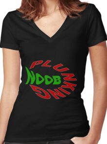 Noob Plunking Women's Fitted V-Neck T-Shirt
