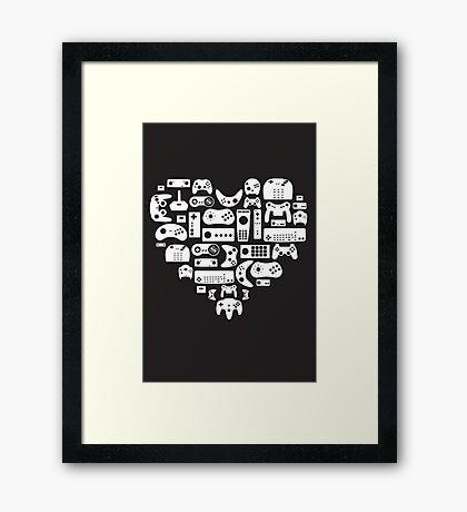 I heart gaming (graphic tees, mugs, and more!) Framed Print