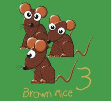 Three Brown Mice T-shirt, etc.design. Kids Clothes