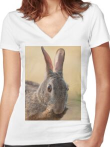 Eastern Cottontail Rabbit Preening  Women's Fitted V-Neck T-Shirt
