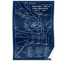 Civil War Maps 1128 Military map of Philadelphia 1861-1865 Inverted Poster