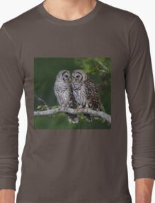 Two Barred Owl Fledglings Perched Above Resaca Long Sleeve T-Shirt