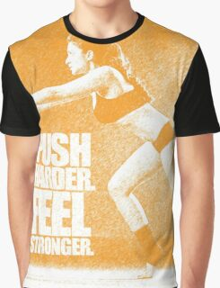 Push harder. Feel stronger. - Gym Inspirational Quote Graphic T-Shirt