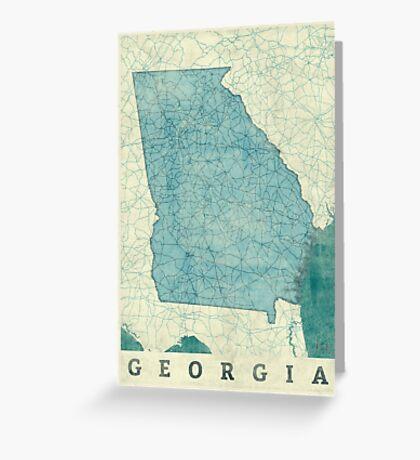 Georgia State Map Blue Vintage Greeting Card