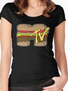 MTV Burger Logo Women's Fitted Scoop T-Shirt