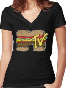 MTV Burger Logo Women's Fitted V-Neck T-Shirt