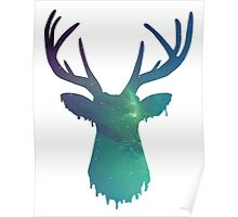 Space and deer modern green design Poster