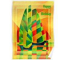 Happy Birthday Chinese Junks, Sunset, Sails and Shadows Poster