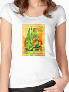 Happy Birthday Chinese Junks, Sunset, Sails and Shadows Women's Fitted Scoop T-Shirt