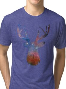 Space and deer modern poster Tri-blend T-Shirt