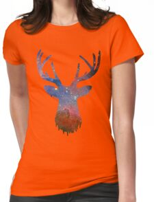 Space and deer modern poster Womens Fitted T-Shirt
