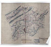 Civil War Maps 1538 Roanoke County Virginia Poster