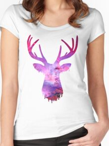 Space and deer modern rose Women's Fitted Scoop T-Shirt