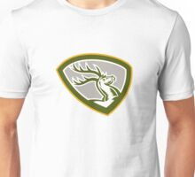 Stag Deer Retro Woodcut Shield Unisex T-Shirt