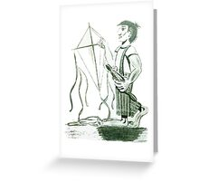 A boy and his kite Greeting Card