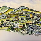 San Gimignano Italy 2015 pen and wash  by Elizabeth Moore Golding