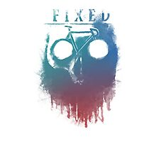 Fixed gear, bike, cycling, skull emblem Photographic Print