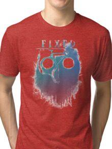 Fixed gear, bike, cycling, skull emblem Tri-blend T-Shirt