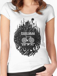 Fixed gear, bike, cycling, skull emblem, bicycle Women's Fitted Scoop T-Shirt