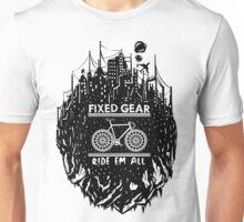Fixed gear, bike, cycling, skull emblem, bicycle Unisex T-Shirt