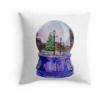 Snowing Street with Lamppost Snow Globe Throw Pillow