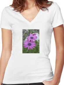 Purple and Pink African Daisy Flowers Women's Fitted V-Neck T-Shirt