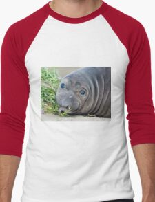 Cute Northern Elephant Seal Pup at Piedras Blancas Men's Baseball ¾ T-Shirt
