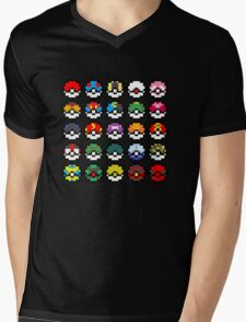 Pixel Pokeball Design [RE] Mens V-Neck T-Shirt