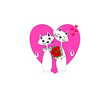 Cute Whimsy Romantic Valentines Heart Cats Photographic Print